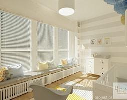 Projekt mieszkania 78 m2 na Woli. - Średni biały szary beżowy pokój dziecka dla chłopca dla niemowlaka, styl eklektyczny - zdjęcie od 4ma projekt