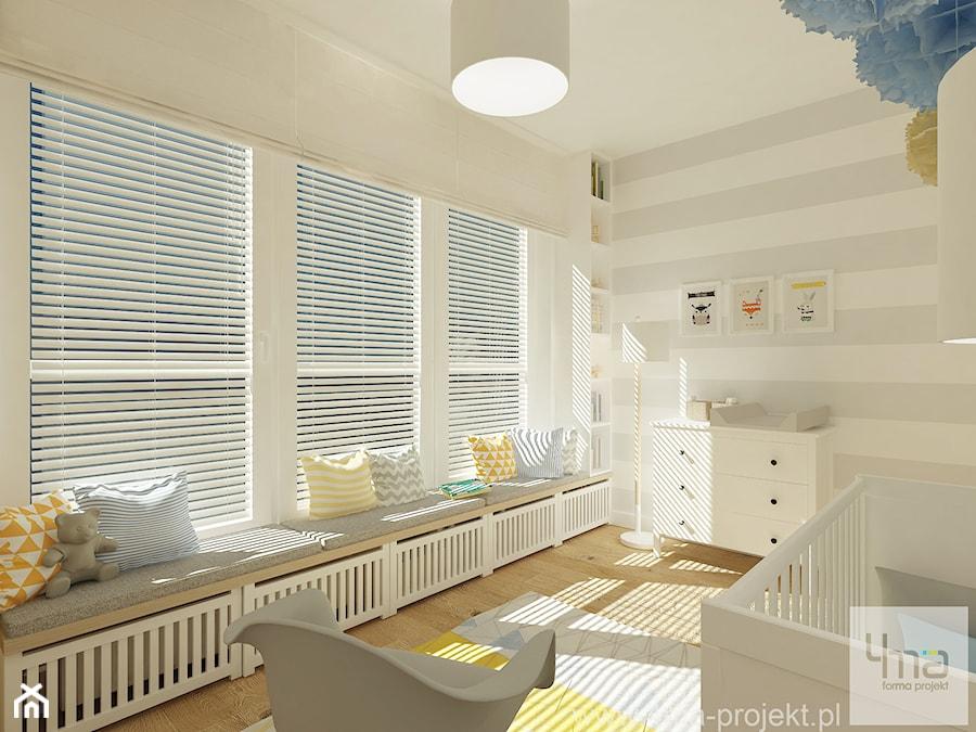 Aranżacje wnętrz - Pokój dziecka: Projekt mieszkania 78 m2 na Woli. - Średni biały szary beżowy pokój dziecka dla chłopca dla niemowlaka, styl eklektyczny - 4ma projekt. Przeglądaj, dodawaj i zapisuj najlepsze zdjęcia, pomysły i inspiracje designerskie. W bazie mamy już prawie milion fotografii!
