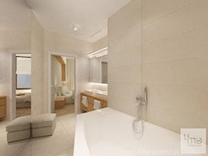 Projekt mieszkania 98 m2 w Wilanowie. - Średnia beżowa łazienka w domu jednorodzinnym z oknem, styl nowoczesny - zdjęcie od 4ma projekt