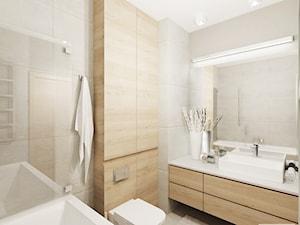 Projekt mieszkania 53 m2 na Żoliborzu - Średnia beżowa łazienka, styl nowoczesny - zdjęcie od 4ma projekt