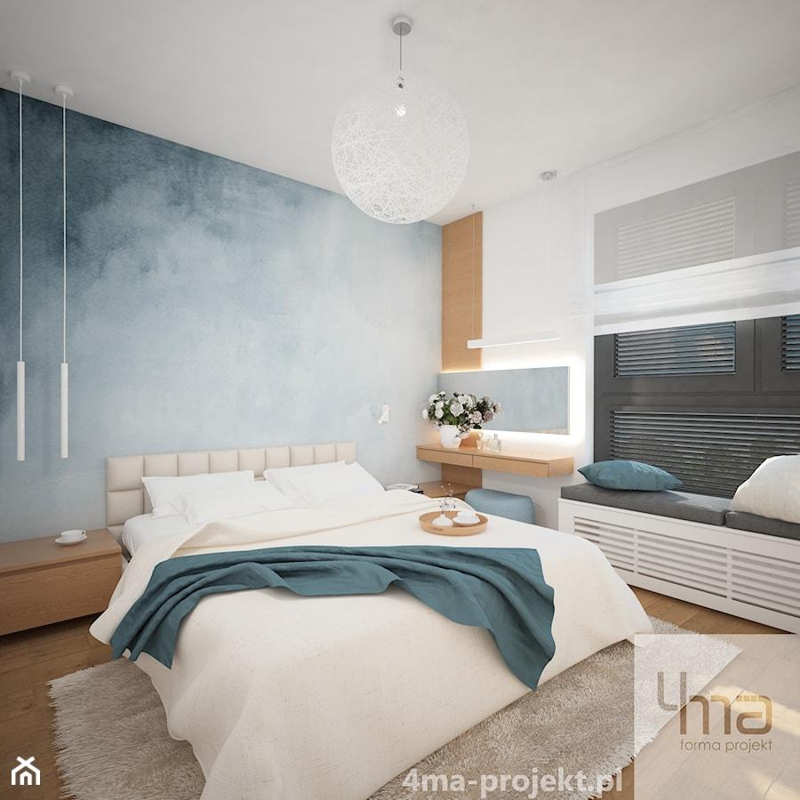 Mieszkanie 68 m2 - Średnia biała niebieska sypialnia małżeńska, styl nowoczesny - zdjęcie od 4ma projekt