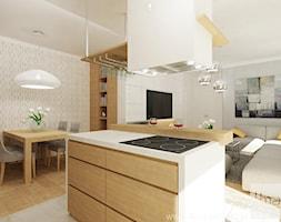 Projekt mieszkania 78 m2 na Woli. - Średni szary beżowy salon z kuchnią z jadalnią, styl eklektyczny - zdjęcie od 4ma projekt