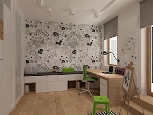Średni biały pokój dziecka dla chłopca dla dziewczynki dla ucznia dla nastolatka, styl nowoczesny - zdjęcie od 4ma projekt