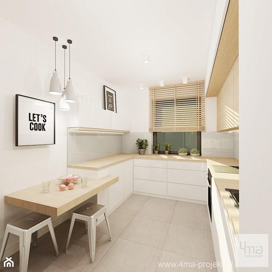 Projekt mieszkania 53 m2 na Żoliborzu - Mała wąska biała kuchnia w kształcie litery u, styl nowoczesny - zdjęcie od 4ma projekt