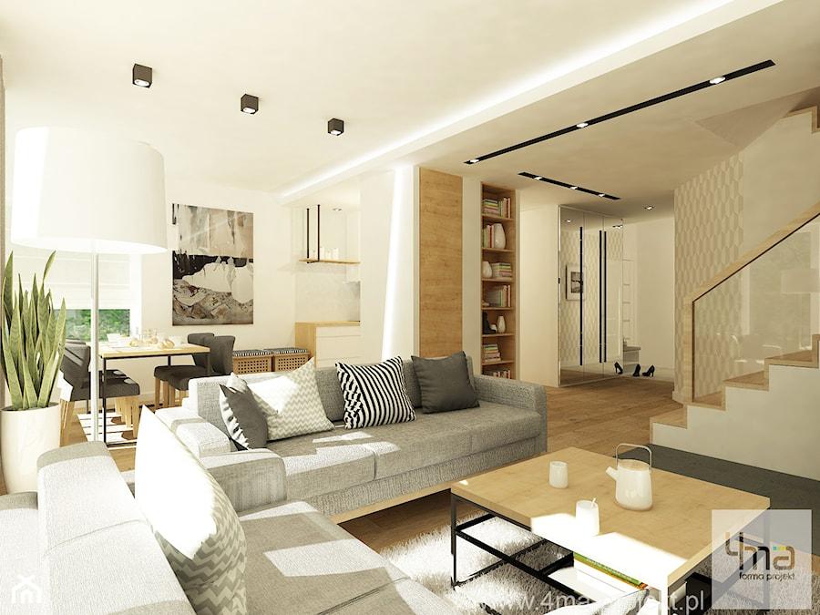 Projekt domu o pow. 125 m2 w Ożarowie Mazowieckim - Duży biały salon z kuchnią z jadalnią, styl nowoczesny - zdjęcie od 4ma projekt