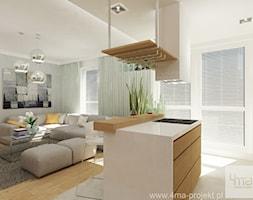 Projekt mieszkania 78 m2 na Woli. - Duży szary biały salon z kuchnią, styl eklektyczny - zdjęcie od 4ma projekt - Homebook