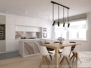 Projekt strefy dziennej o pow. 87 m2 w mieszkaniu dwupoziomowym.