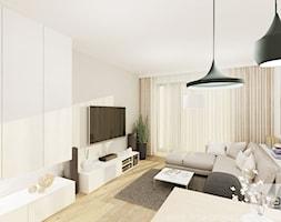 Projekt mieszkania 53 m2 na Żoliborzu - Średni beżowy salon, styl nowoczesny - zdjęcie od 4ma projekt
