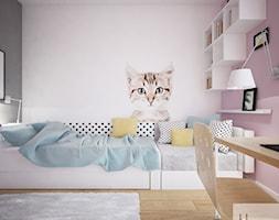 Mieszkanie o pow. 129 m2 - Nova Królikarnia - Mały biały różowy czarny pokój dziecka dla dziewczynki dla ucznia dla nastolatka, styl nowoczesny - zdjęcie od 4ma projekt