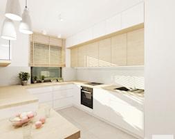 Projekt mieszkania 53 m2 na Żoliborzu - Średnia biała kuchnia w kształcie litery u w aneksie, styl nowoczesny - zdjęcie od 4ma projekt - Homebook