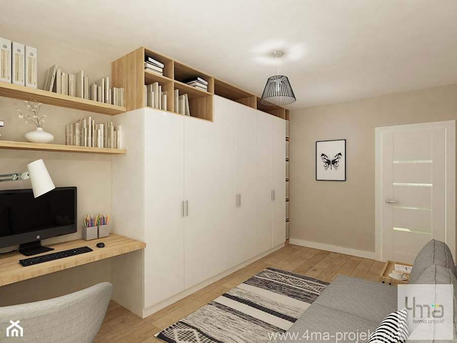Projekt domu o pow. 125 m2 w Ożarowie Mazowieckim - Średnie szare biuro domowe kącik do pracy w pokoju, styl nowoczesny - zdjęcie od 4ma projekt