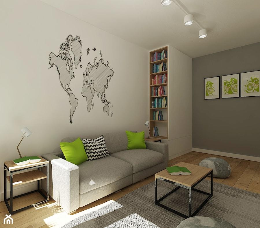 Średni biały szary pokój dziecka dla chłopca dla dziewczynki dla ucznia dla nastolatka, styl nowoczesny - zdjęcie od 4ma projekt