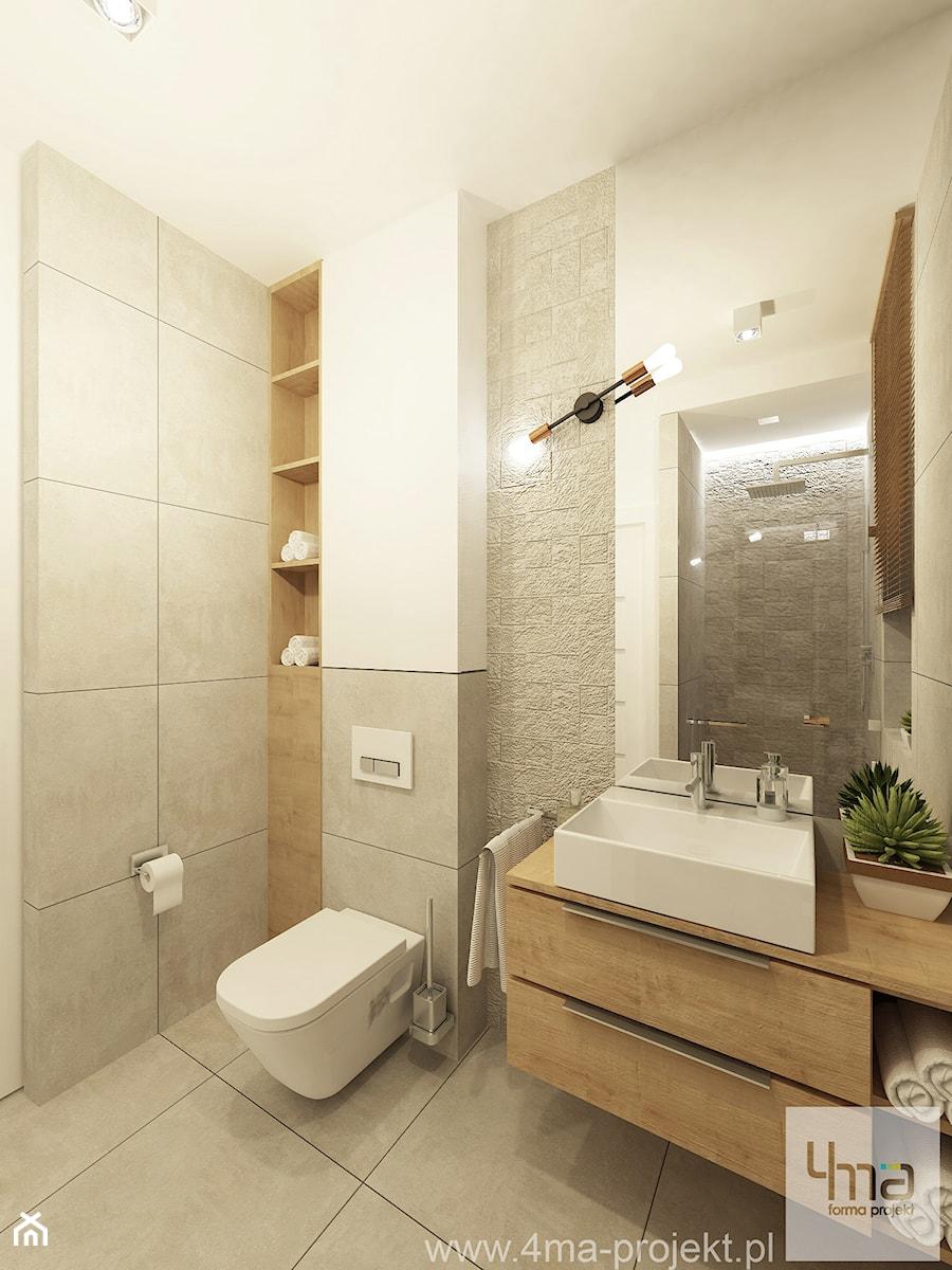 Projekt domu o pow. 125 m2 w Ożarowie Mazowieckim - Średnia biała szara łazienka na poddaszu w bloku w domu jednorodzinnym bez okna, styl nowoczesny - zdjęcie od 4ma projekt