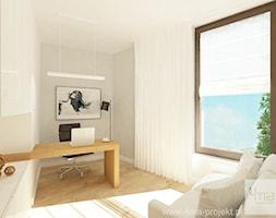 Projekt mieszkania 98 m2 w Wilanowie. - Małe szare biuro domowe, styl nowoczesny - zdjęcie od 4ma projekt