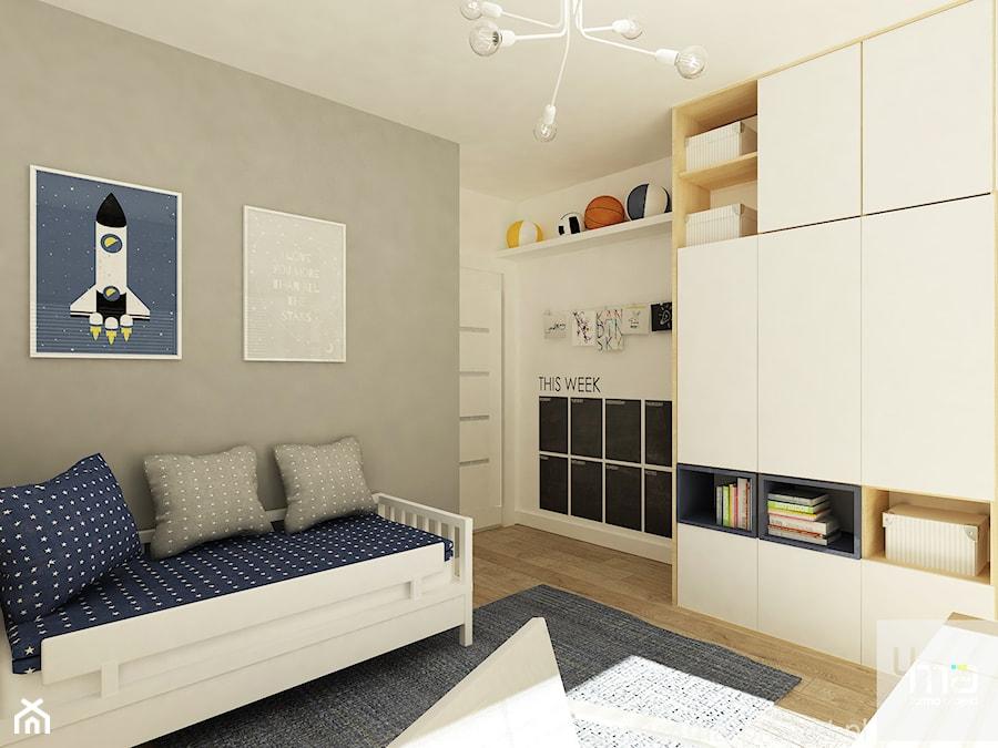 Projekt domu o pow. 125 m2 w Ożarowie Mazowieckim - Średni biały szary pokój dziecka dla chłopca dla dziewczynki dla ucznia dla malucha dla nastolatka, styl nowoczesny - zdjęcie od 4ma projekt