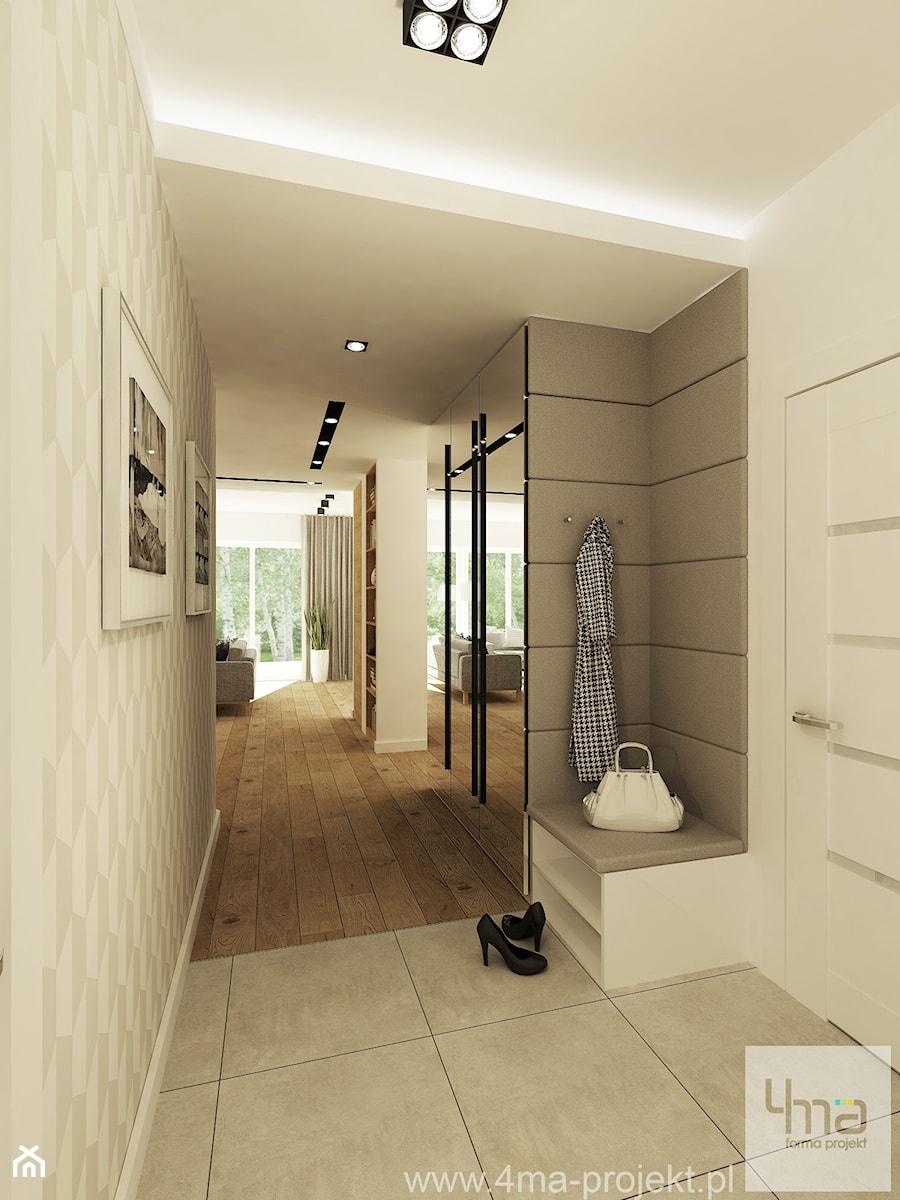 Projekt domu o pow. 125 m2 w Ożarowie Mazowieckim - Średni beżowy hol / przedpokój, styl nowoczesny - zdjęcie od 4ma projekt