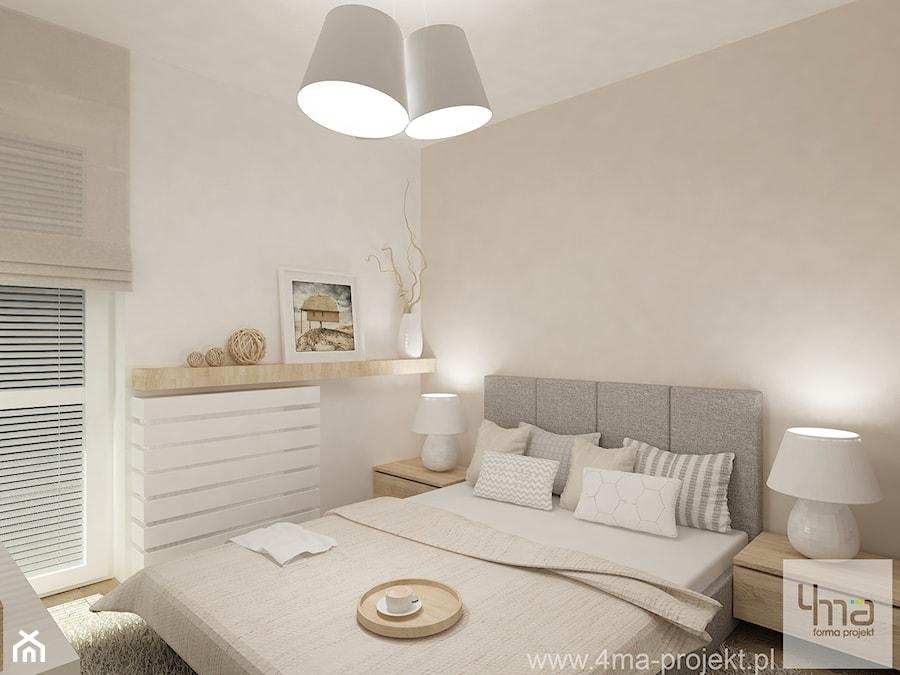 Projekt mieszkania na Bielanach o pow. 51,5 m2. - Mała średnia szara sypialnia małżeńska, styl nowoczesny - zdjęcie od 4ma projekt