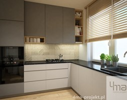 Projekt strefy dziennej 2 - Średnia otwarta biała beżowa kuchnia w kształcie litery l w aneksie z oknem, styl nowoczesny - zdjęcie od 4ma projekt