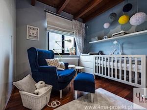 Pokoje dziecięce dla trójki rodzeństwa 55 m 2 - Mały szary niebieski pokój dziecka dla chłopca dla dziewczynki dla niemowlaka, styl nowoczesny - zdjęcie od 4ma projekt