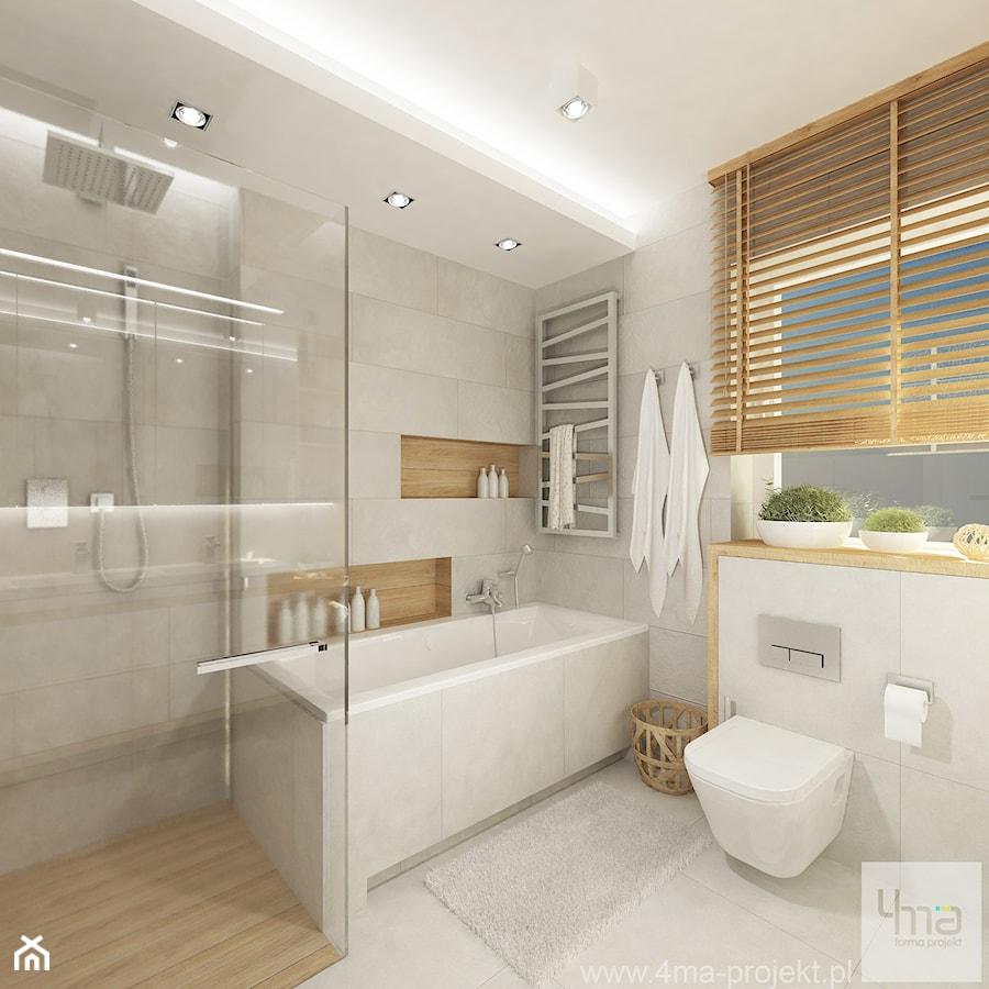 Projekt domu o pow. 125 m2 w Ożarowie Mazowieckim - Średnia biała łazienka na poddaszu w bloku w domu jednorodzinnym z oknem, styl nowoczesny - zdjęcie od 4ma projekt
