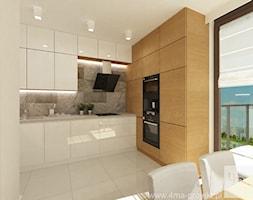 Projekt mieszkania 98 m2 w Wilanowie. - Mała otwarta biała kuchnia w kształcie litery l w aneksie, styl nowoczesny - zdjęcie od 4ma projekt