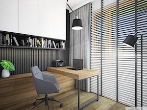 Mieszkanie o pow. 52 m2 w Grodzisku Mazowieckim - Małe beżowe czarne biuro kącik do pracy w pokoju, styl nowoczesny - zdjęcie od 4ma projekt