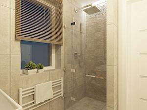 Projekt domu o pow. 125 m2 w Ożarowie Mazowieckim - Średnia biała beżowa łazienka z oknem, styl nowoczesny - zdjęcie od 4ma projekt