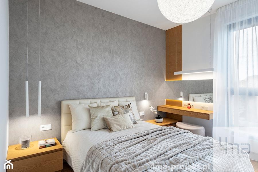 Mieszkanie 68m2 na Ochocie - Średnia biała sypialnia małżeńska z balkonem / tarasem, styl nowoczesny - zdjęcie od 4ma projekt