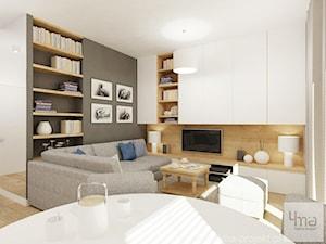 Projekt salonu z aneksem kuchennym 22 m2 i łazienki 5,2 m2. - Średni szary salon, styl nowoczesny - zdjęcie od 4ma projekt