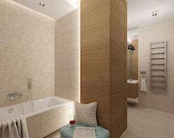 Projekt mieszkania 78 m2 na Woli. - Duża beżowa łazienka w domu jednorodzinnym, styl eklektyczny - zdjęcie od 4ma projekt