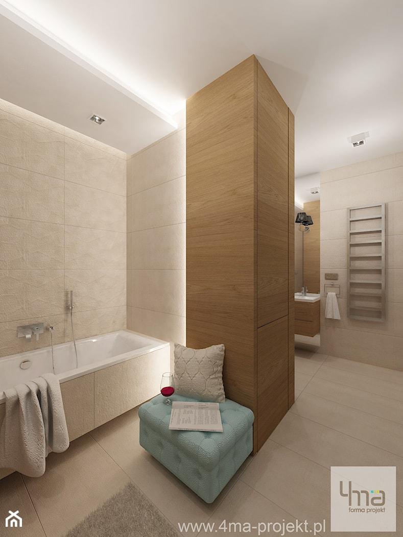 Projekt mieszkania 78 m2 na Woli. - Duża beżowa łazienka w domu jednorodzinnym, styl eklektyczny - zdjęcie od 4ma projekt - Homebook