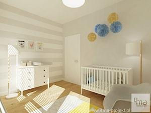 Projekt mieszkania 78 m2 na Woli. - Średni biały beżowy pokój dziecka dla chłopca dla dziewczynki dla niemowlaka, styl eklektyczny - zdjęcie od 4ma projekt