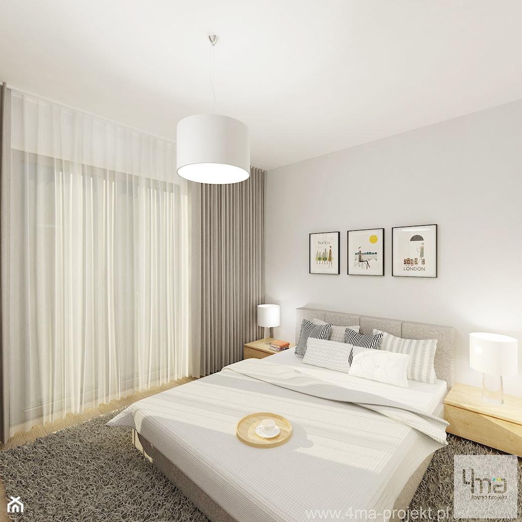Projekt mieszkania 53 m2 na Żoliborzu - Średnia biała sypialnia małżeńska z balkonem / tarasem, styl nowoczesny - zdjęcie od 4ma projekt - Homebook