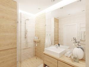 Projekt salonu z aneksem kuchennym 22 m2 i łazienki 5,2 m2. - Średnia beżowa łazienka w domu jednorodzinnym, styl nowoczesny - zdjęcie od 4ma projekt