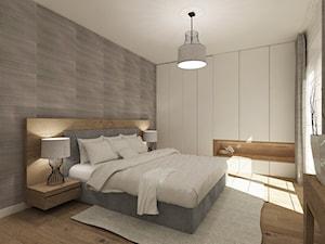 Średnia szara sypialnia małżeńska, styl nowoczesny - zdjęcie od 4ma projekt