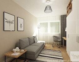 Średnie szare biuro domowe kącik do pracy w pokoju, styl nowoczesny - zdjęcie od 4ma projekt