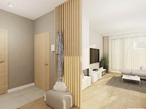 Projekt mieszkania 53 m2 na Żoliborzu - Średni biały szary hol / przedpokój, styl nowoczesny - zdjęcie od 4ma projekt
