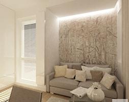 Projekt mieszkania w Pruszkowie - pow. 52,5 m2. - Małe beżowe biuro kącik do pracy w pokoju, styl nowoczesny - zdjęcie od 4ma projekt