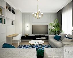 Klasycznie i ponadczasowo, 87m2 - Średni szary biały salon z bibiloteczką, styl klasyczny - zdjęcie od 4ma projekt