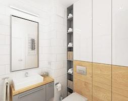 Projekt mieszkania w Wilanowie, pow. 52 m2 - Średnia biała łazienka, styl skandynawski - zdjęcie od 4ma projekt - Homebook