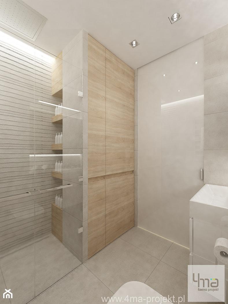 Projekt mieszkania w Pruszkowie - pow. 52,5 m2. - Mała biała łazienka na poddaszu w bloku w domu jednorodzinnym bez okna, styl nowoczesny - zdjęcie od 4ma projekt - Homebook