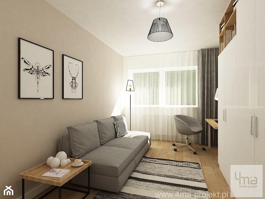 Projekt domu o pow. 125 m2 w Ożarowie Mazowieckim - Średnie beżowe białe biuro kącik do pracy w pokoju, styl nowoczesny - zdjęcie od 4ma projekt