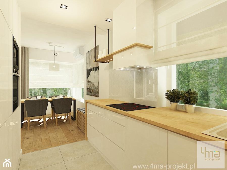 Projekt domu o pow. 125 m2 w Ożarowie Mazowieckim - Mała wąska beżowa kuchnia jednorzędowa z oknem, styl nowoczesny - zdjęcie od 4ma projekt