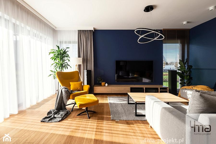 Mieszkanie o pow. 129 m2 - Mokotów - Średni biały niebieski salon, styl nowoczesny - zdjęcie od 4ma projekt