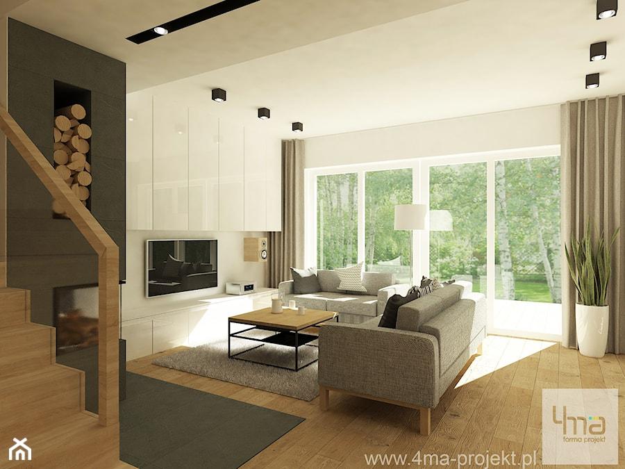 Projekt domu o pow. 125 m2 w Ożarowie Mazowieckim - Średni biały salon, styl nowoczesny - zdjęcie od 4ma projekt
