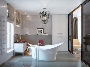 Duża beżowa szara łazienka w domu jednorodzinnym jako salon kąpielowy z oknem, styl art deco - zdjęcie od Gerasim Trubchik