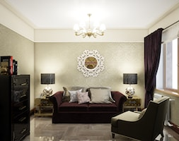 Średnie beżowe biuro domowe w pokoju, styl art deco - zdjęcie od Gerasim Trubchik
