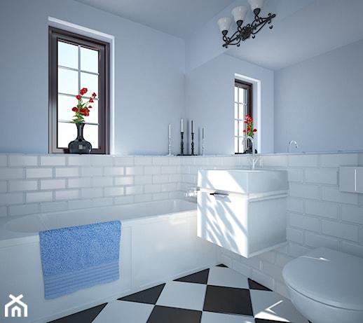 Niebiesko Biała łazienka Projekt Wnętrza Mieszkalnego