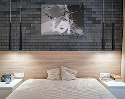 Kościańska sypialnia - Duża brązowa czarna sypialnia małżeńska, styl nowoczesny - zdjęcie od Carolineart - Homebook