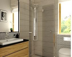 Łazienka styl skandynawski - Mała beżowa łazienka w domu jednorodzinnym z oknem, styl skandynawski - zdjęcie od Carolineart
